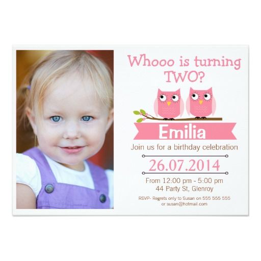 Best 419 2nd Birthday Party Invitations images on Pinterest 2nd