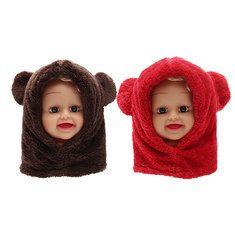 #Banggood Малыш мальчик девочка ребенок дети мило теплая зима пушистый медведь шляпа шарф капюшон колпак (1105637) #SuperDeals