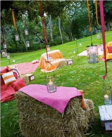 haybale seating for bonfire party