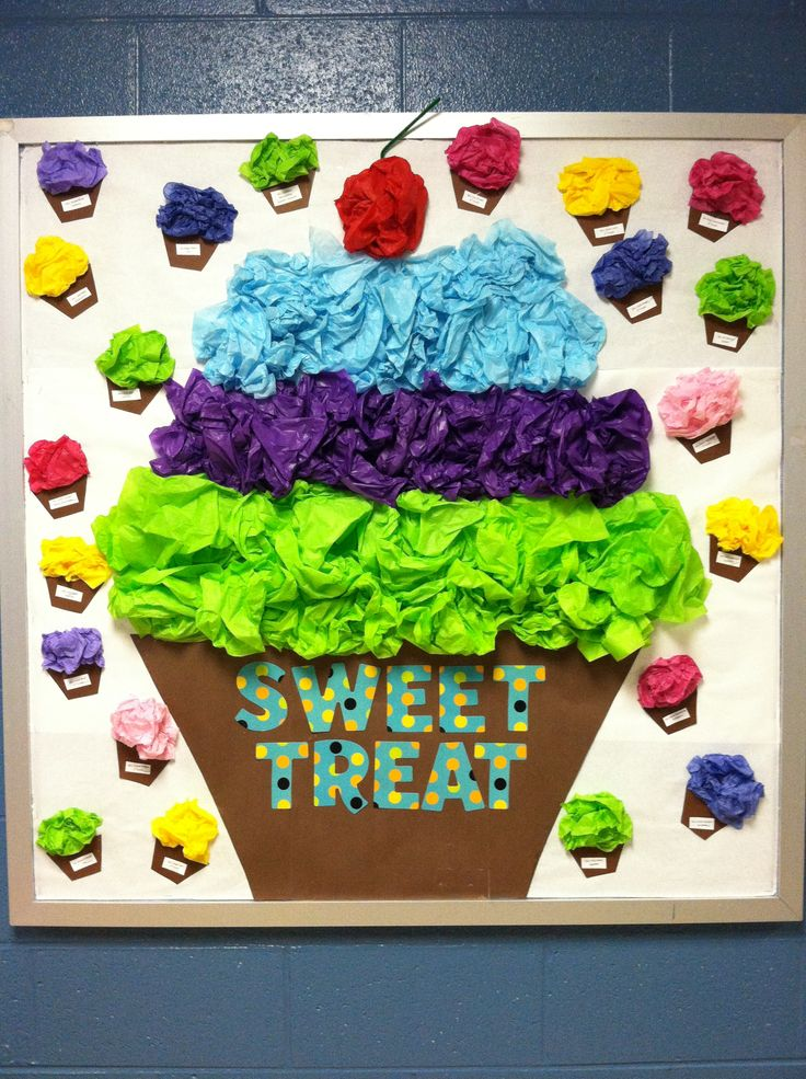 Class room bulletin board sweet treat cupcake connie s class