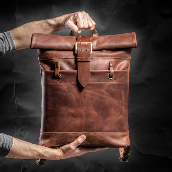 Leather backpack Roll top backpack by Kruk Garage by KrukGarage