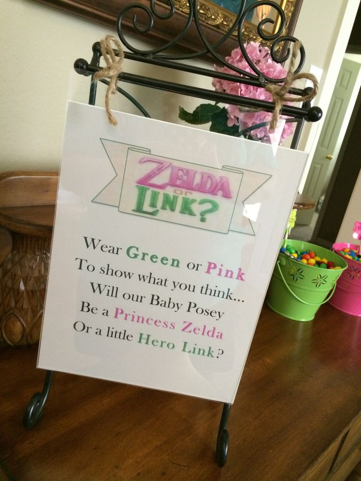 Wear green or pink to show what YOU think. Will new baby Posey be our Princess Zelda or our little hero, Link?