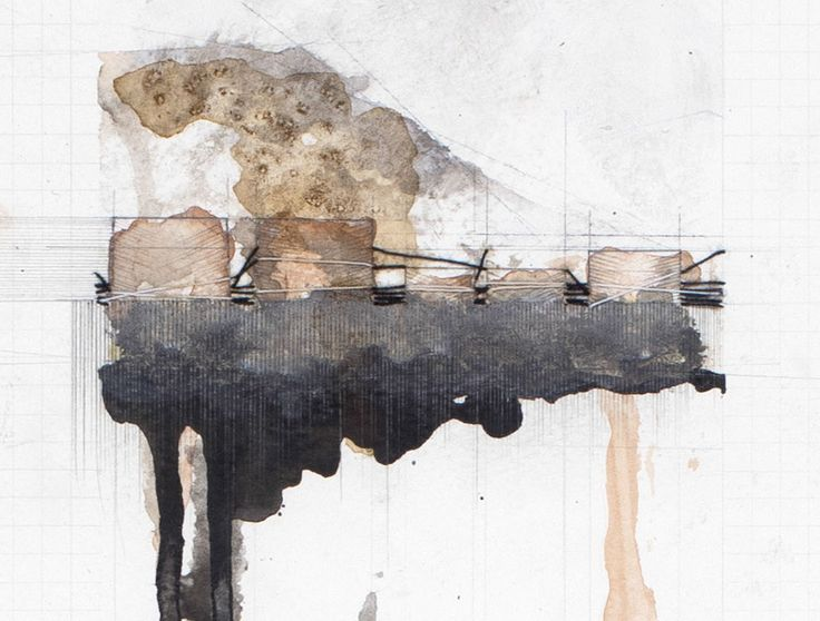 Alexandra Davies 2 DETAIL: Whalers Bay – Atmosphere 2013 760mm X 560mm pencil, watercolor, coffee, thread, gesso, and lead shavings on paper