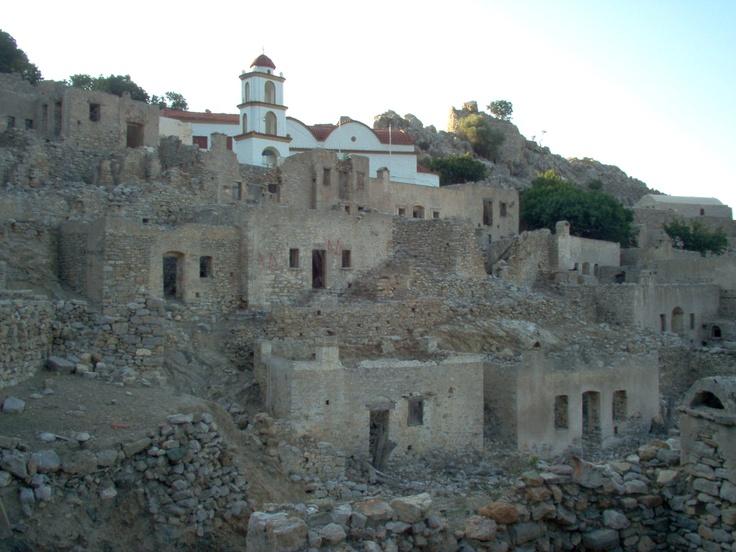 Mikro Chorio, Tilos, Greece.  An abandoned village...