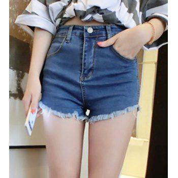 Pantalones cortos de moda de talle alto diseño del bolsillo de las mujeres de la mezclilla para Vender - La Tienda En Online IGOGO.ES