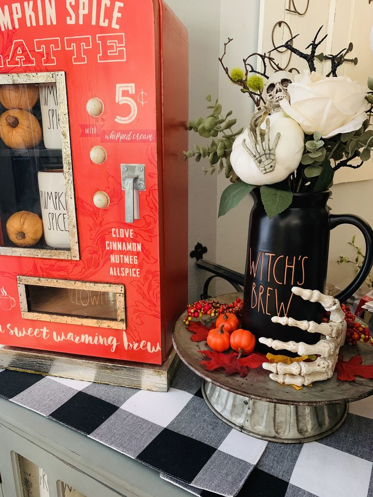 Rae Dunn Halloween pitcher display Whipped cream, Decor