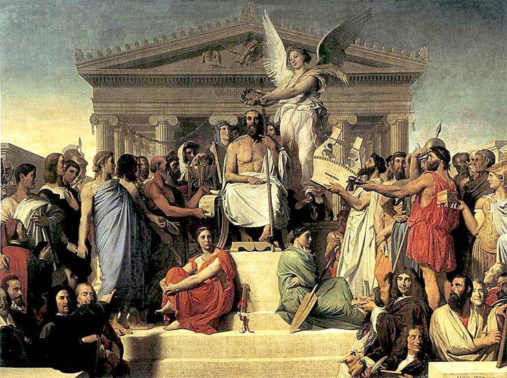 "NEOCLASSICISM~ Jean-Auguste- Dominique Ingres, Apotheosis of Homer, 1827. Oil on Canvas, 12' 8"" X 16' 10 3/4"". Louvre, Paris."