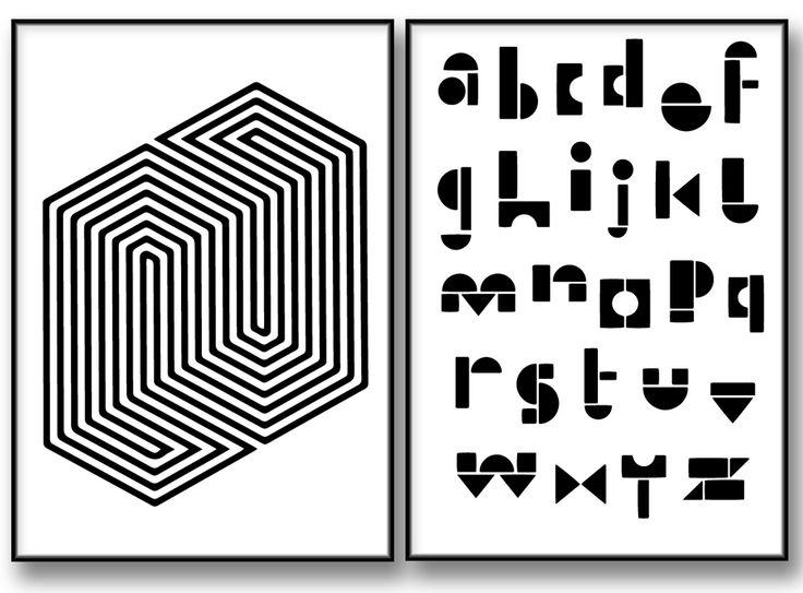 Geometrisk Alfabet Tavla Illusion. posters