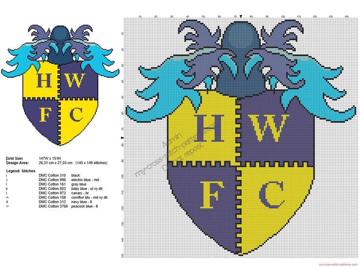 Havant & Waterlooville FC badge free cross stitch pattern 145x149