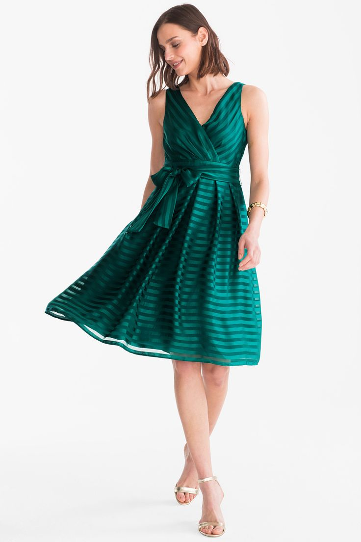 mujer vestido fit flare festivo de rayas verde fit flare dress
