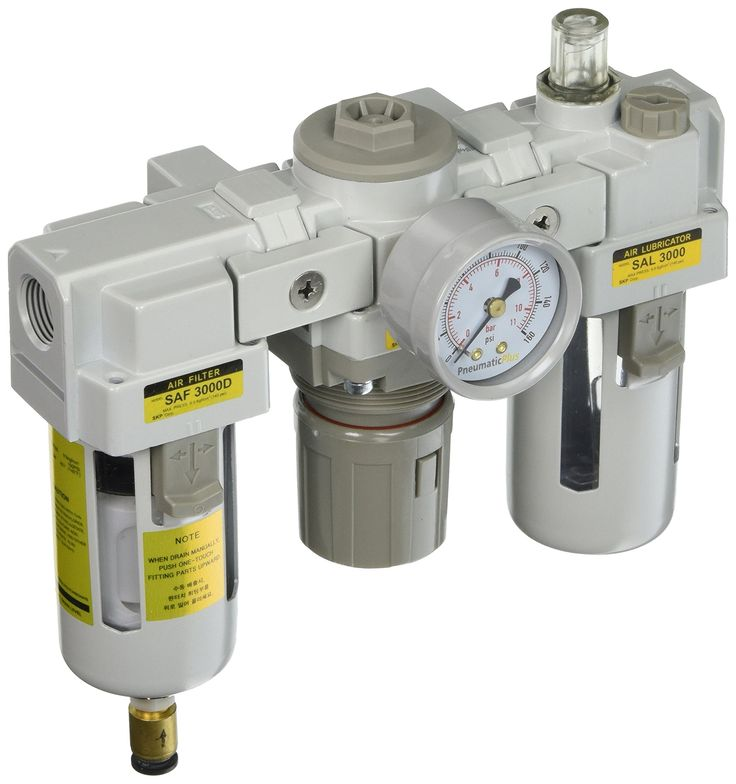 """PneumaticPlus SAU3000M-N03DG 3 Unit Combo Compressed Air Filter Regulator Lubricator, 3/8"""" Pipe Size, NPT-Auto Drain, Poly Bowl with Gauge. 3/8"""" National pipe thread taper modular FRL unit. Max supply pressure: 250 PSI, max operating pressure: 150 PSI. 72 SCFM, 10 micron element standard. Auto drain and polycarbonate bowl."""