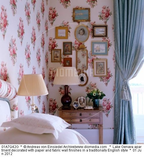 Lake Genava apartment decorated with paper and fabric wall finishes in a traditionally English style
