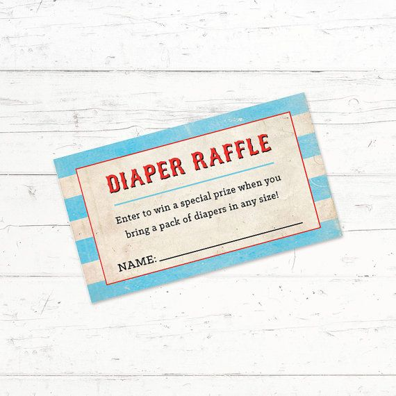 Circus Baby Shower Diaper Raffle Ticket by CrissyDesignCo on Etsy