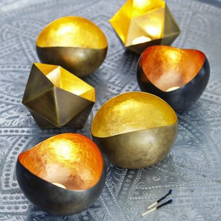 Metal Tealight Holders (gold / copper bowls) for bedside table vignette Graham and Green only £12 each!!! got all 3 for my house.