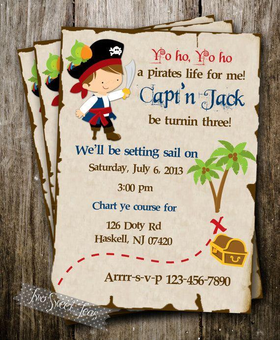 Pirate Treasure Ship carte Invitation anniversaire garçon parti digital imprimable bricolage