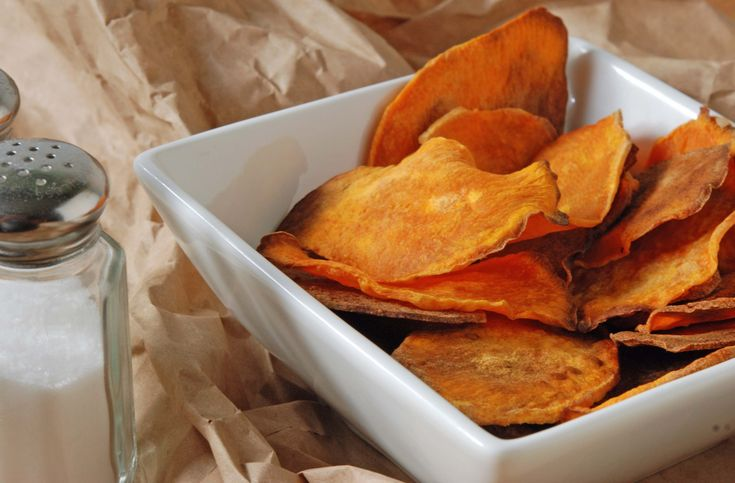 Potato Chips - better if you slice thinly, coat lightly with olive oil ...