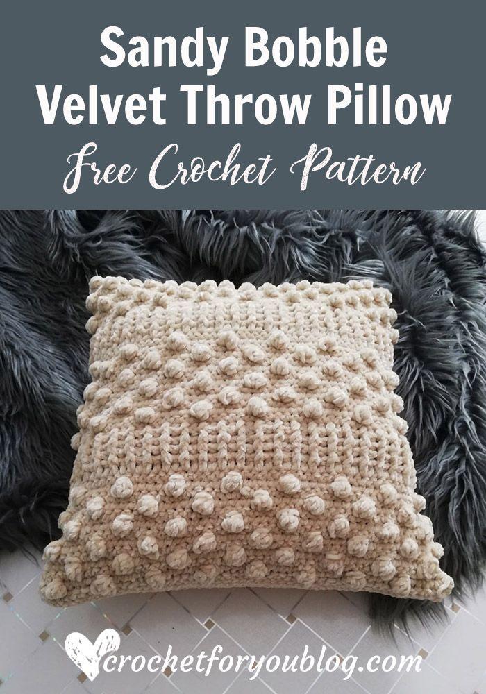 Sandy Bobble Crochet Velvet Throw Pillow Free Pattern Bobble Crochet Crochet Pillow Patterns Free Crochet Pillow Pattern