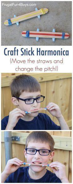 Sound Science for Kids: Make a Craft Stick Harmonica. Fun STEM project!