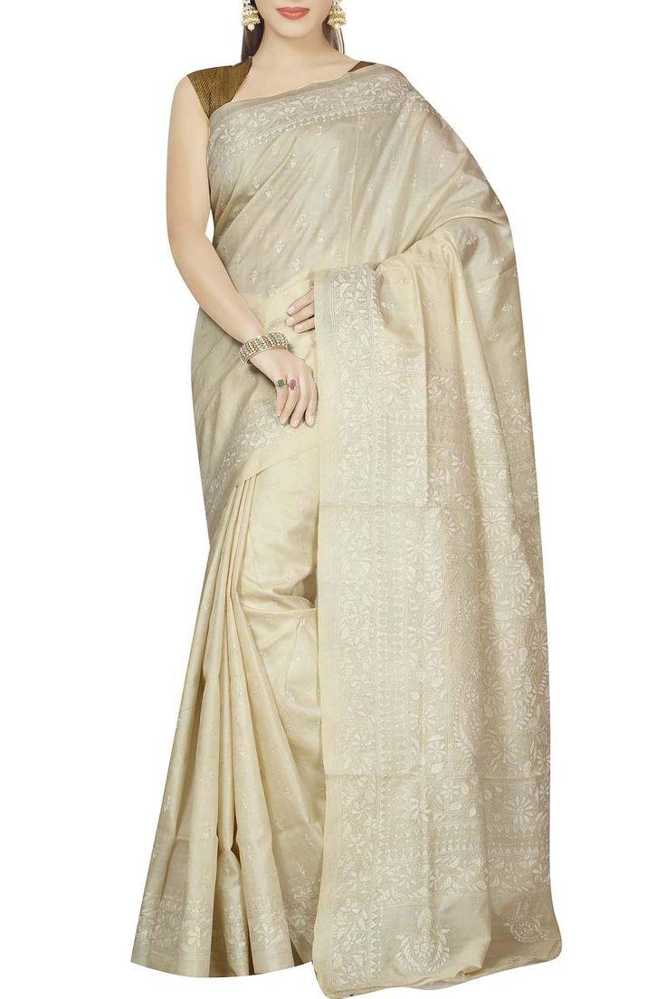 French White Bel Buti Kantha Tussar Silk Saree