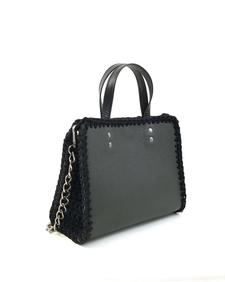 Mini tote bag handmade from genuine calf leather with crochet details . Interior leather lining. With leather top handles and chain that can be removed. Closes with magnetic clasp. Size: 23x19  Comes in a dust bag  Markella Fili Creations