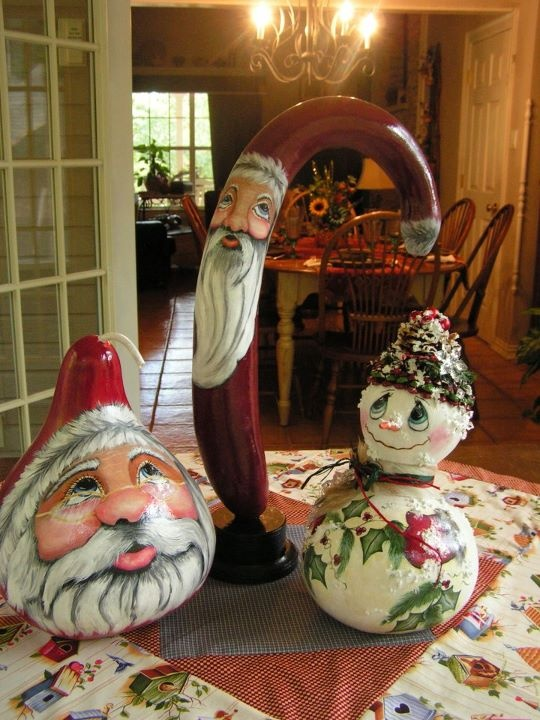 2 Santa gourds & snowman gourd, my Mom and Sister have several painted gords. Fun thing to collect too.