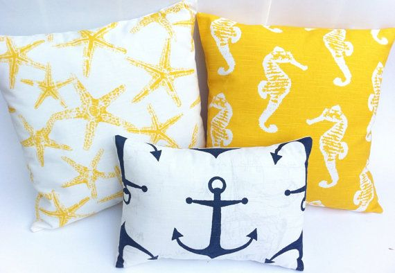 Hey, I found this really awesome Etsy listing at https://www.etsy.com/listing/162455907/set-of-3-navy-and-yellow-nautical