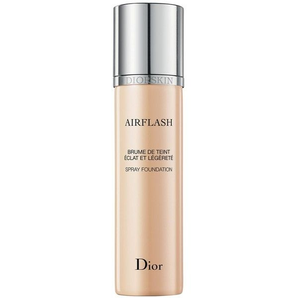 Dior Diorskin Airflash Spray Foundation ($62) ❤ liked on Polyvore featuring beauty products, makeup, face makeup, foundation, cameo, spray foundation, long wearing foundation and best long wearing foundation