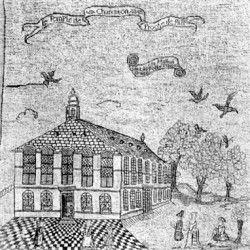 Temple de Charenton (94) (broderie)- Jacques II du Cerceau est surtout connu pour être l'architecte du temple de Charenton, construit pour la communauté réformée parisienne en 1607. En 1609, il est mentionné comme architecte pour les travaux de l'hôtel de Soissons, appartenant à Charles de Bourbon. Jacques II, qui s'était marié en 1602 avec Marie Malapert, meurt à Paris en 1614. Il est enterré au cimetière protestant de St-Germain.