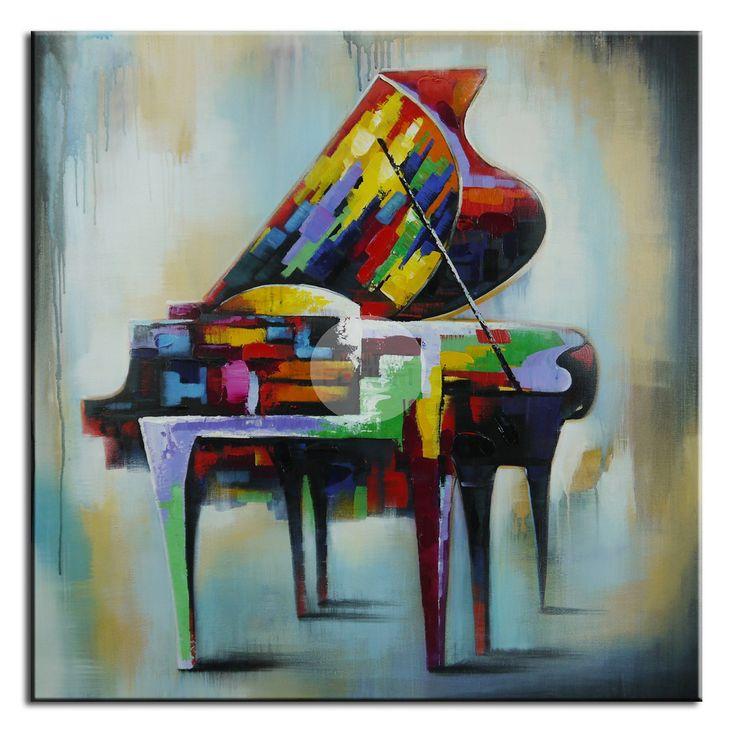 Vintage Piano Oil Canvas 100 x 100cm