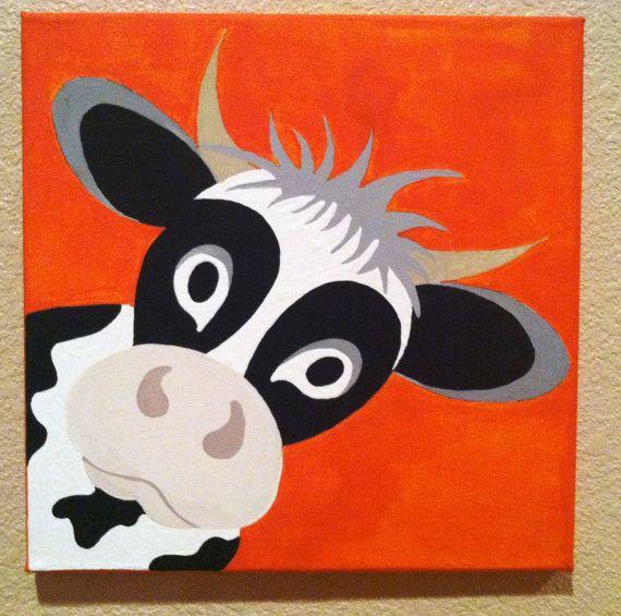 Coucou mignonne vache... Peint à la main peinture à par memearts