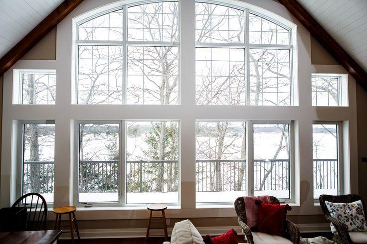 Carling Bay Cottage -  Interior - Window Wall - Water View - Parry Sound Muskoka - Cedarland Homes - www.cedarlandhomes.ca