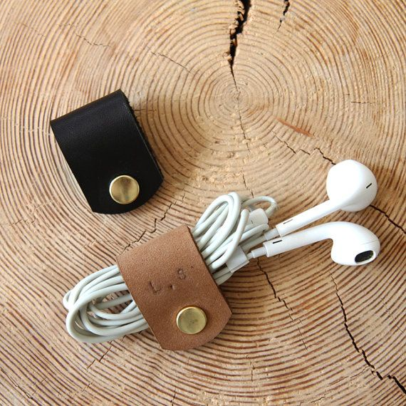 2 pcs Leather Earphone Holder Custom Small Gifts For Couples Cord Organiser Engraved Leather Cable Organiser Personalised Earpiece Holder