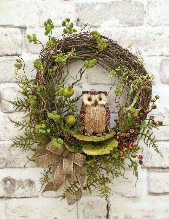 Fall Owl Wreath, Fall Wreath for Door, Fall Door Wreath, Front Door Wreath, Grapevine Wreath, Silk Flower Wreath, Outdoor Wreath, Autumn