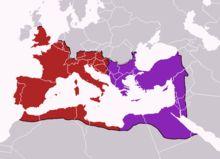 Antiquité tardive. Le partage de 395. En rouge, la Pars Occidentalis dévolue à Honorius; en violet, la Pars Orientalis qui revient à l'aîné Arcadius. Le long des frontières de l'Empire, les traits noirs correspondent aux limes. La Pars Orientalis se transformera en empire byzantin.