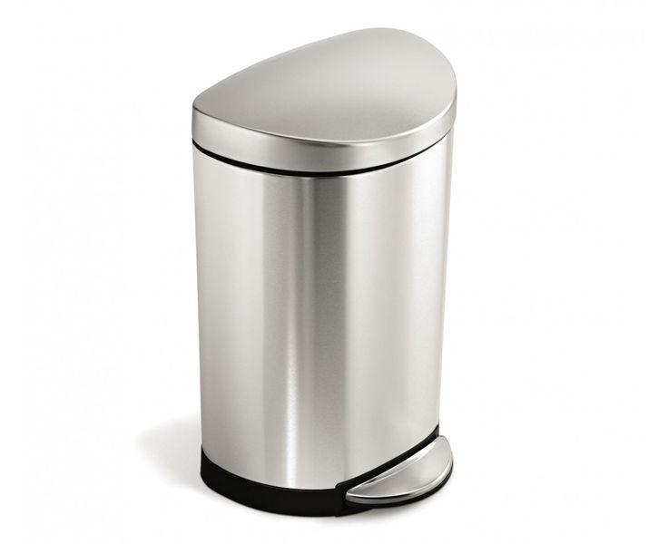 simplehuman | 10 Liter, halbrunder Treteimer, fingerabdrucksicherer gebürsteter Edelstahl