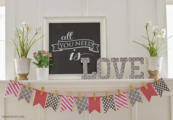 Home by Heidi: Valentines Day Mantle that is such a clever idea to pin your flags to make the banner!
