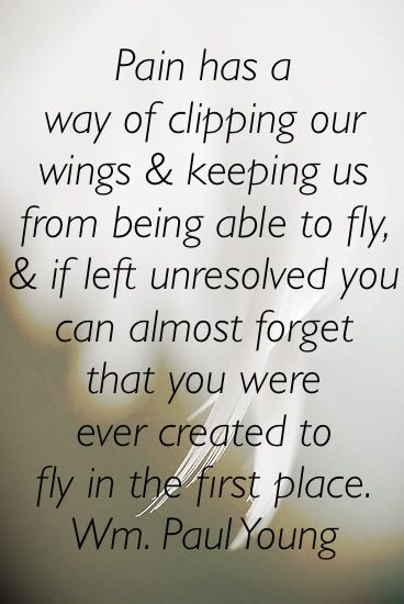 "I share this from one of my favorite books, ""The Shack""   Pain has a way of clipping our wings and keeping us from being able to fly, and if left unresolved you can almost forget that you were ever created to fly in the first place. Wm. Paul Young"
