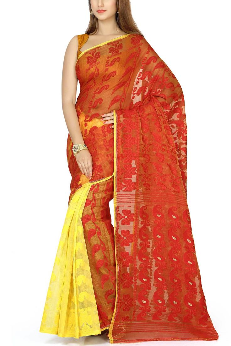 Red & Yellow Paisley Dhakai Cotton Jamdani Saree