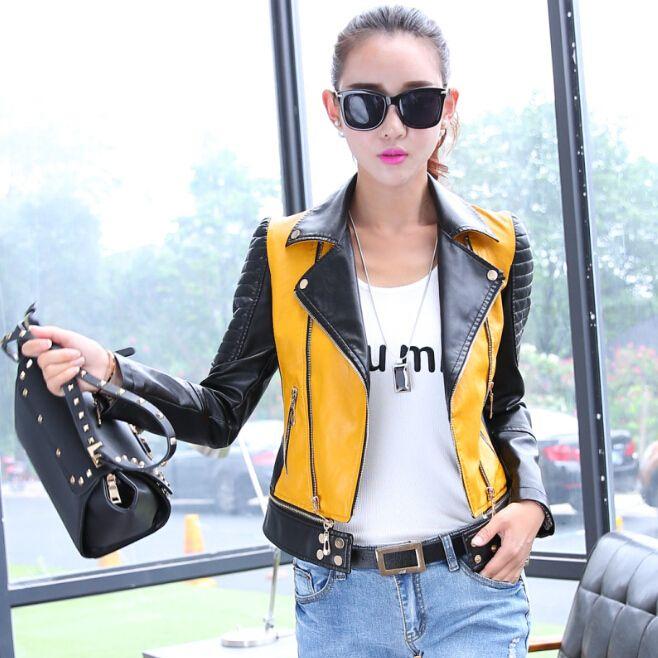 6サイズpu女性革オートバイのジャケットパッチワークカラー春秋zipprデザイン女性レザージャケットコートプラスサイズs-3xl