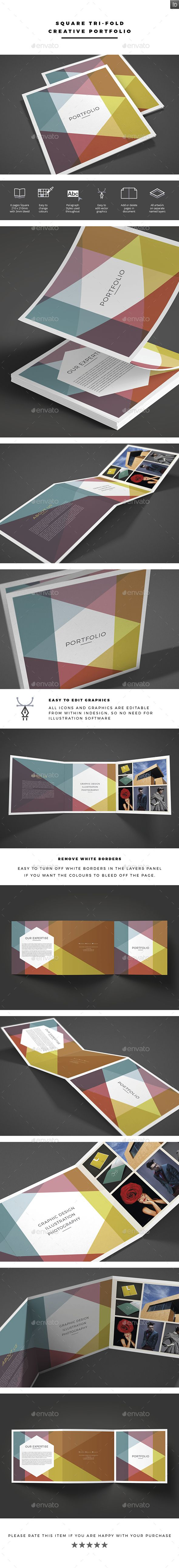 Square Tri-fold Creative Portfolio Brochure Template 	InDesign INDD. Download here: https://graphicriver.net/item/square-trifold-creative-portfolio/17074211?ref=ksioks