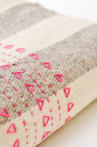 Pink Druzi Wool Blanket with embroidery stitches | Koromiko - for inspiration
