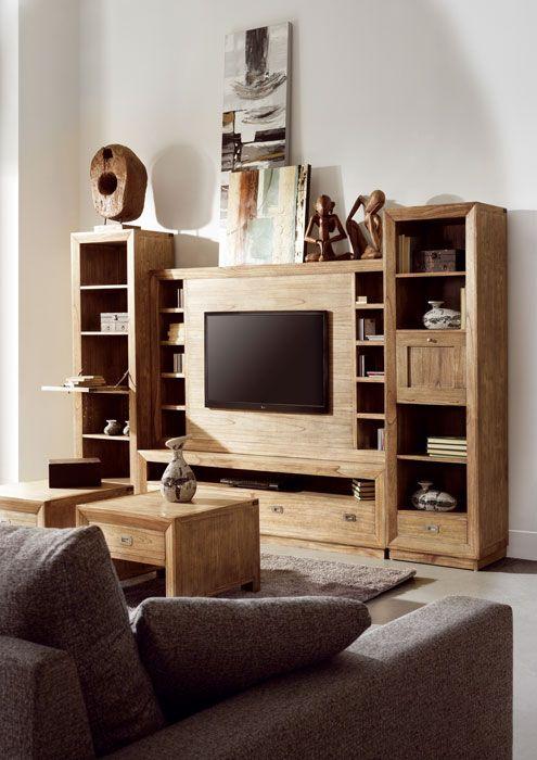 conjunto de salon coleccion merapi formado por mueble de tv y estanterias libreros en nuestra
