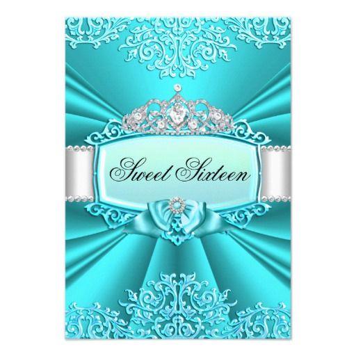 Teal Princess Tiara & Damask Sweet 16 Invitation Personalized Invites