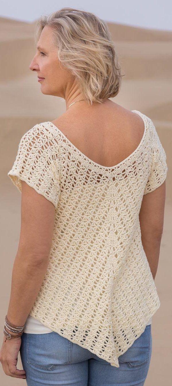 Crochet Top Pattern The Linen Front Tie Top Crocheted PDF Pattern Crochet Tee Pattern