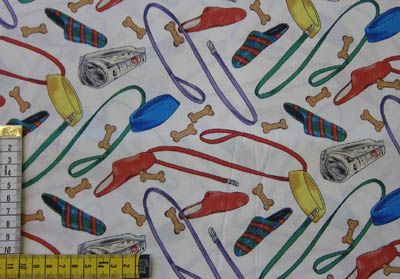 Hämeen tekstiilituonti ky E59 tilkkutyökangas 50x110cm PALA -koiran tarvikkeet, luonnonvalk. tausta