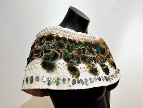 Robin Hill Kura Gallery Maori Art Design New Zealand Aotearoa Weaving Paua Arapaki Peacock Feather Shoulder Cloak Cape