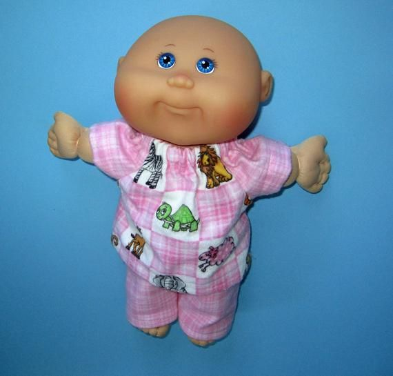 Cabbage Patch Doll Clothes Zoo Print Pink Pajamas 10 Inch Etsy Cabbage Patch Dolls Doll Clothes Pink Print