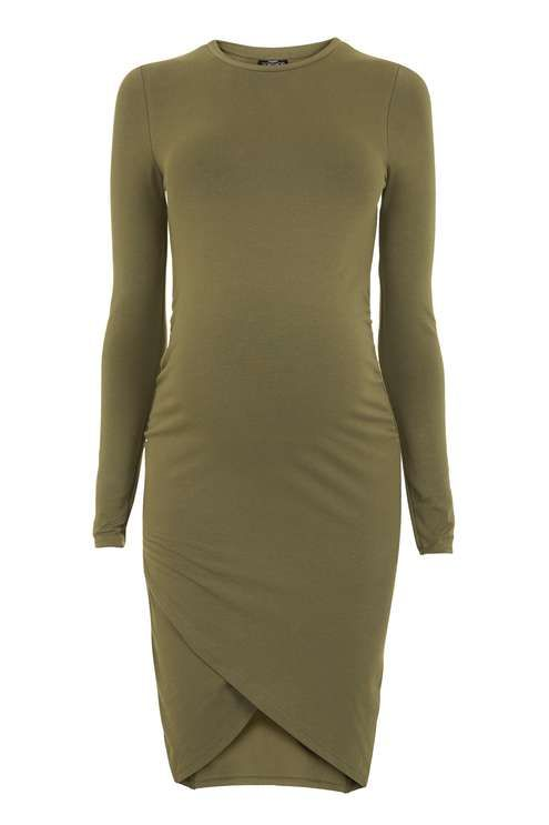 Look to sleek khaki to elevate your eveningwear with this long sleeve bodycon dress for Maternity, with a cool curved detail to the hem for a chic finish. #Topshop