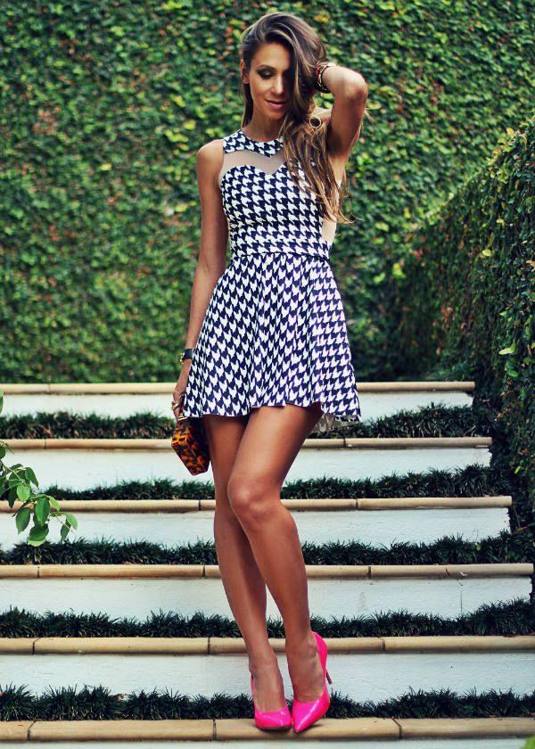 Maria Gueixa Black And White Houndstooth Mini dress  #Maria Gueixa Dresses #Houndstooth Mini Dress #Houndstooth Mini Dresses #Houndstooth Mini Dress Outfit Ideas #Where Can I Buy Houndstooth Mini Dresses #Black And White Dresses #Houndstooth Dresses #Mini Dresses #Dress #Dresses #Fashionista #decor e Salto Alto Outfits