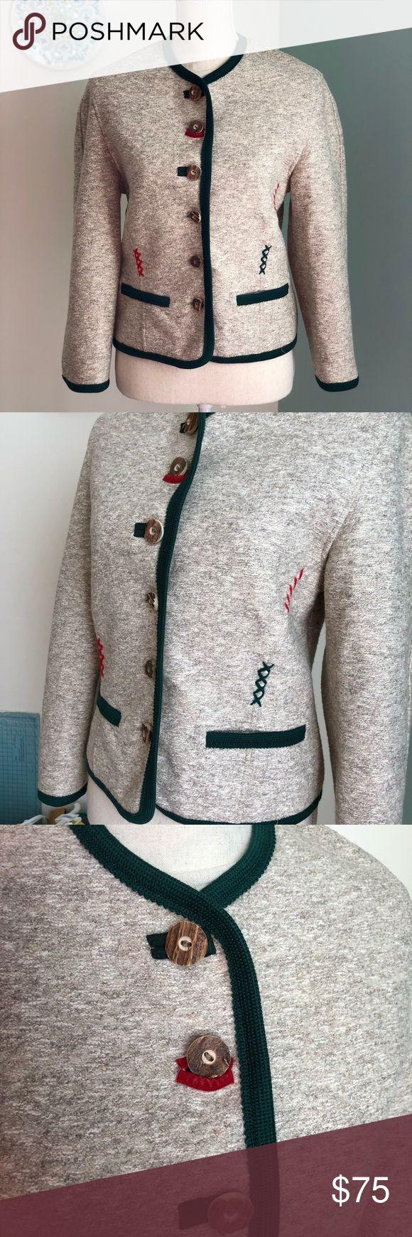 Giesswein wool jacket size 4 Giesswein made in Austria button jacket with wood-look buttons and green trim. Eu size 36/ US 4 Giesswein Jackets & Coats